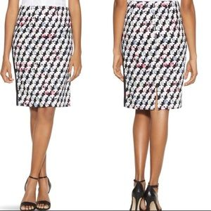 Whbm houndstooth mixes print pencil skirt- 0